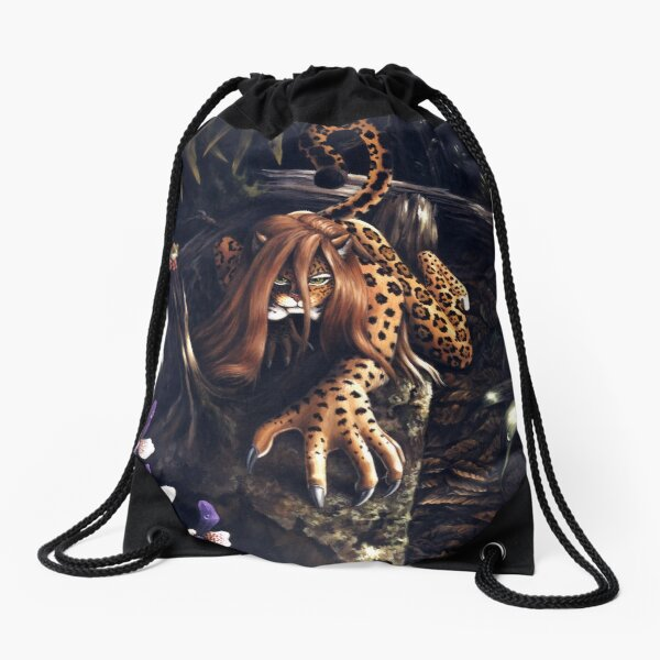 Makin' the Rounds - jaguar woman Drawstring Bag