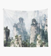 Floating mountains Zhangjiajie National Forest Park art photo print Tapestry