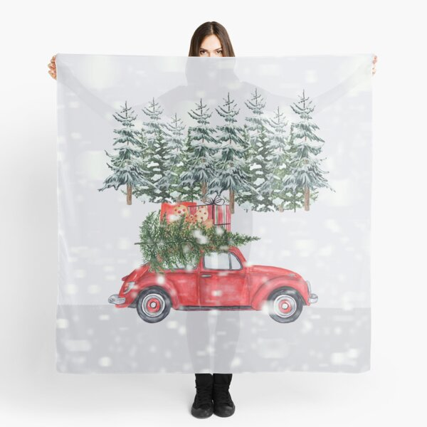 Red Car Christmas Tree Snowing Bring it Home Scarf