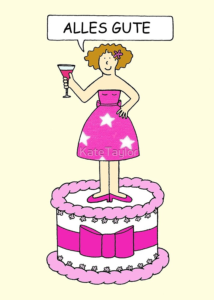 Happy Birthday in German, Cartoon Lady on a Cake