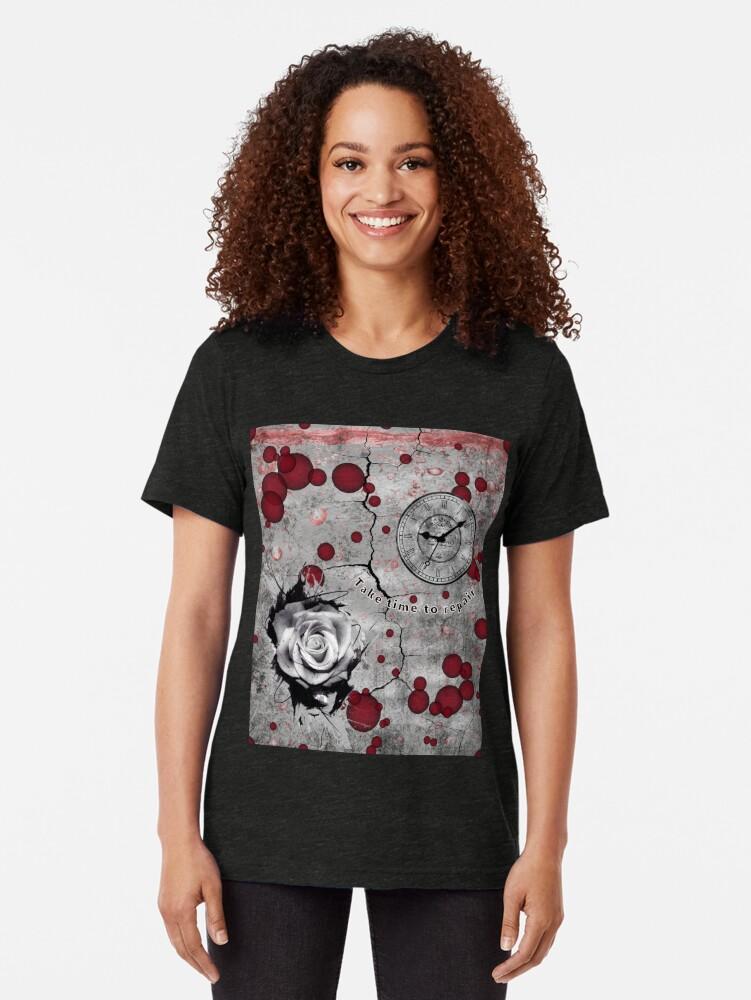 Alternate view of Trash Polka No 12. Digital Collage  Tri-blend T-Shirt