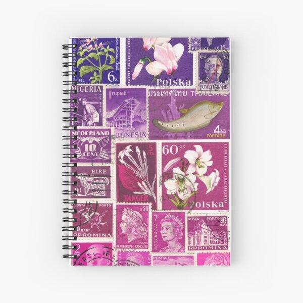 Purple Magenta Ombre, Postage Stamp Collage Spiral Notebook