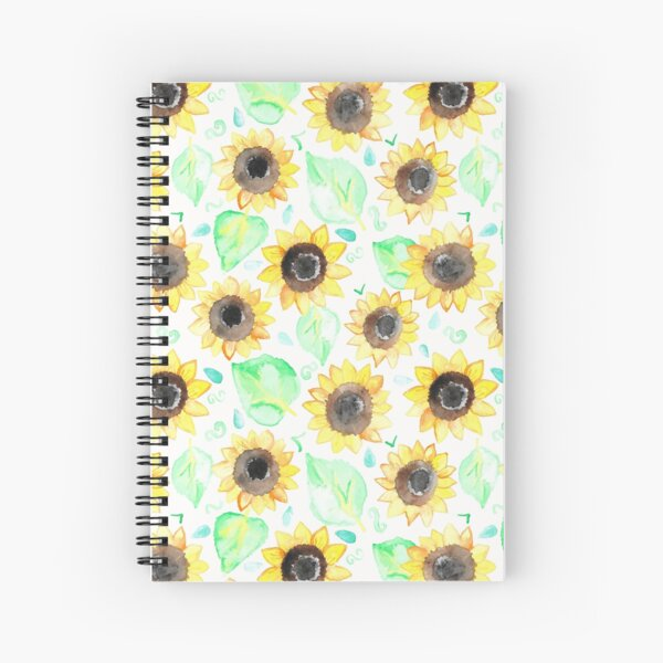 Cheerful Watercolor Sunflowers Spiral Notebook