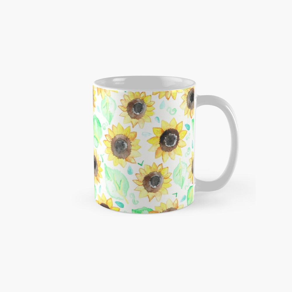 Fröhliche Aquarell Sonnenblumen Tasse