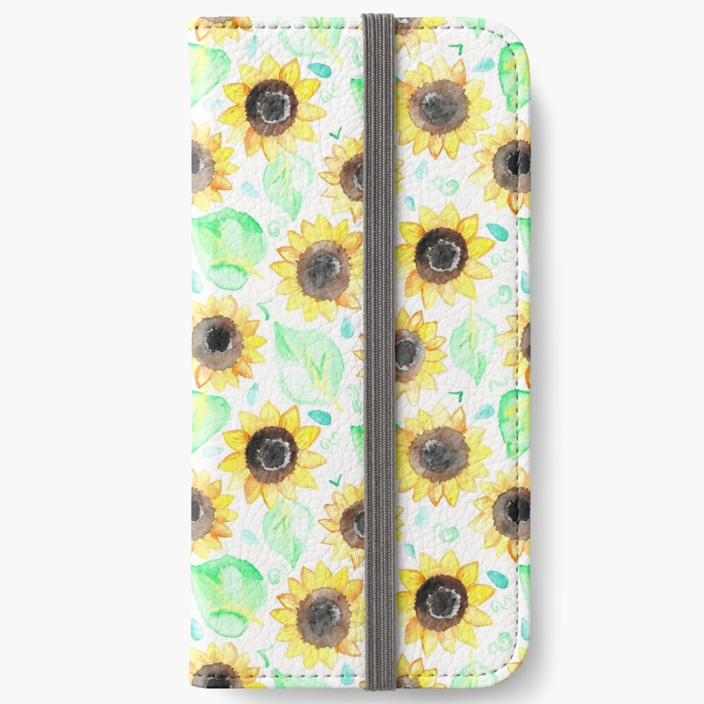Fröhliche Aquarell Sonnenblumen iPhone Flip-Case
