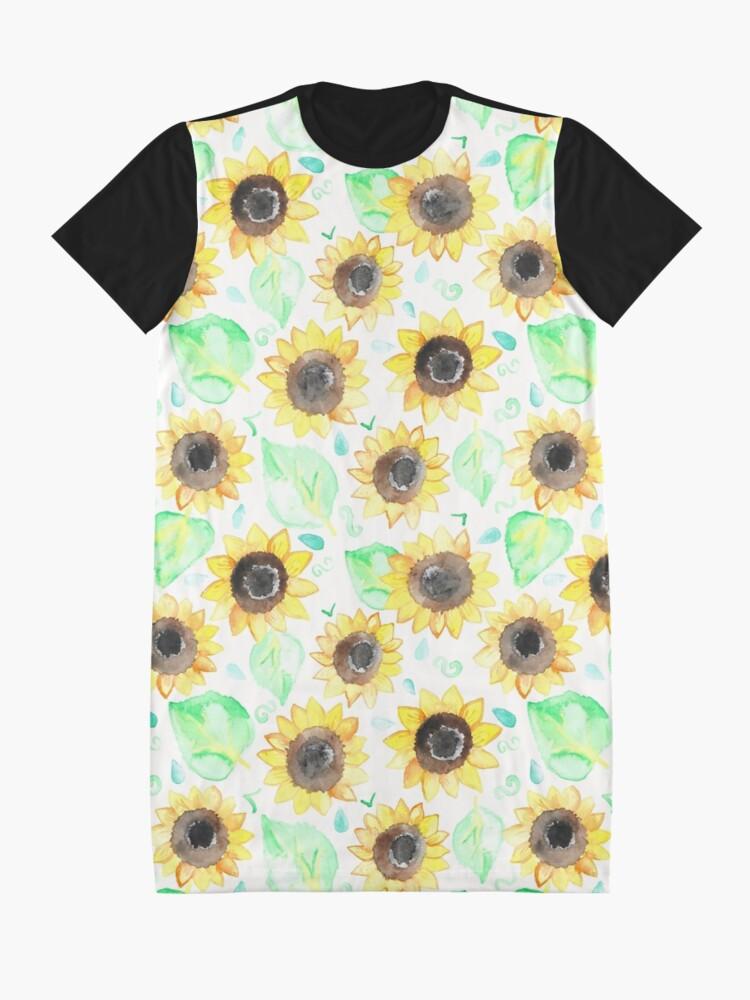 Alternative Ansicht von Fröhliche Aquarell Sonnenblumen T-Shirt Kleid