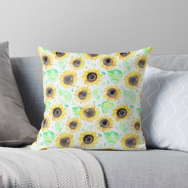 Cheerful Watercolor Sunflowers Throw Pillow