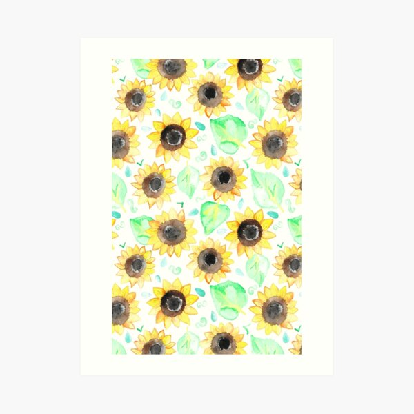 Cheerful Watercolor Sunflowers Art Print