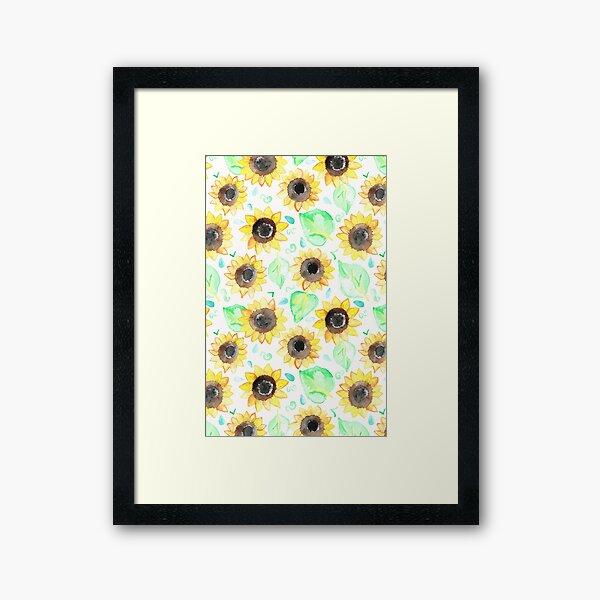 Cheerful Watercolor Sunflowers Framed Art Print