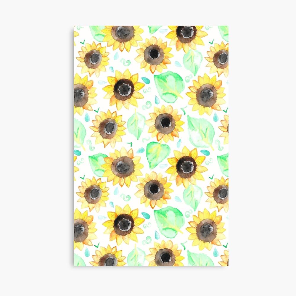 Fröhliche Aquarell Sonnenblumen Leinwanddruck