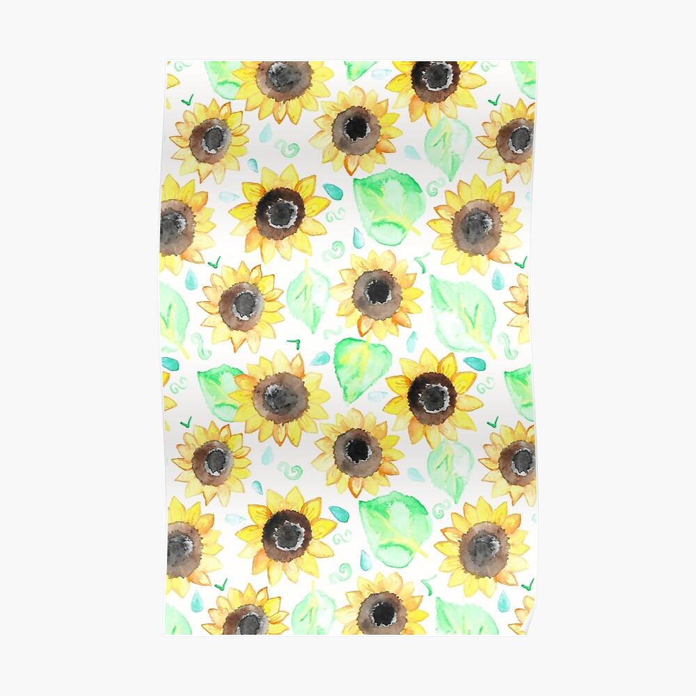 Fröhliche Aquarell Sonnenblumen Poster