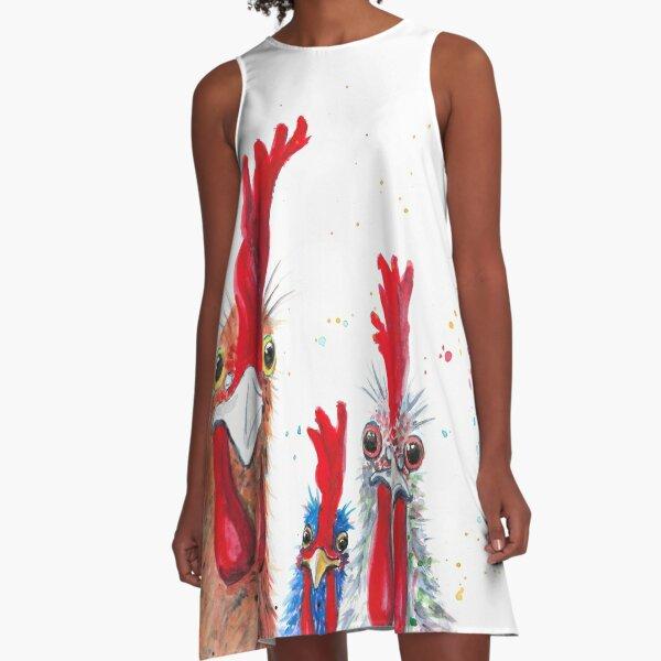 Chicken Ladies, Hen, Chicken, Rooster, Bird A-Line Dress