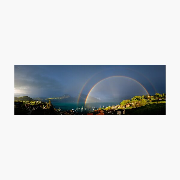 Rainbow on Lake Thun Photographic Print