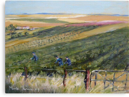 Workers in the vineyard by Marie Theron