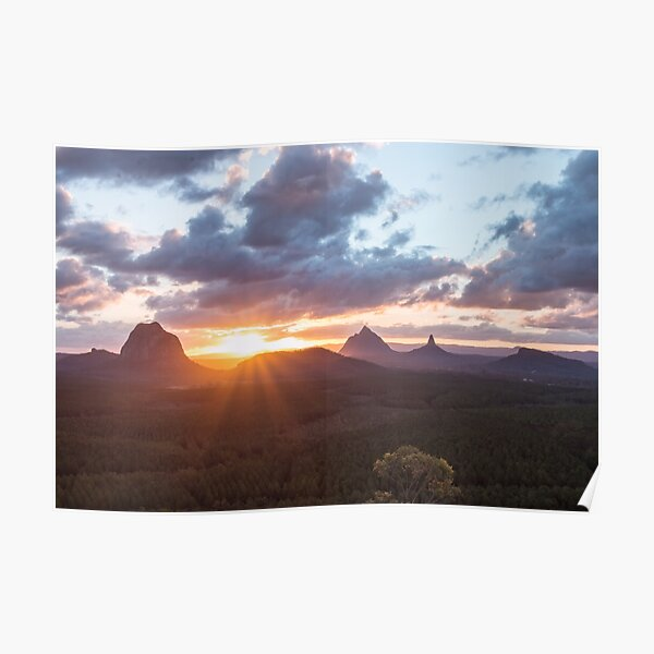 Glass House Mountain Sunset Poster