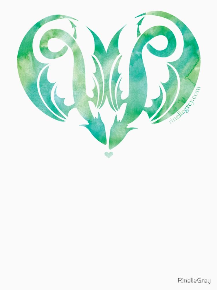 Dragon Love - Muted Green by RinelleGrey