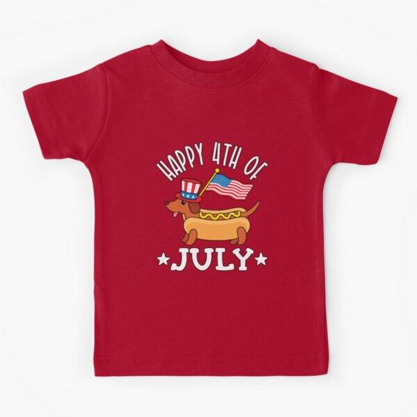 Patriótico Dachshund Hot Dog Americana 4 de julio Camiseta para niños