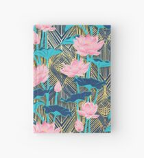 Art Deco Lotus Flowers in Pink & Navy Hardcover Journal