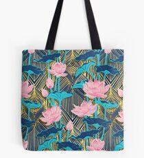 Art Deco Lotus Flowers in Pink & Navy Tote Bag