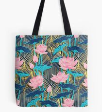 Fleurs de lotus Art Déco en rose et bleu marine Tote bag