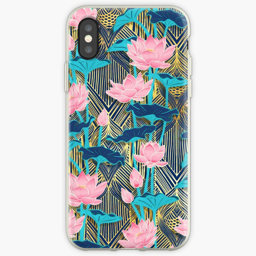 Art Deco Lotus Flowers in Pink & Navy iPhone Case & Cover