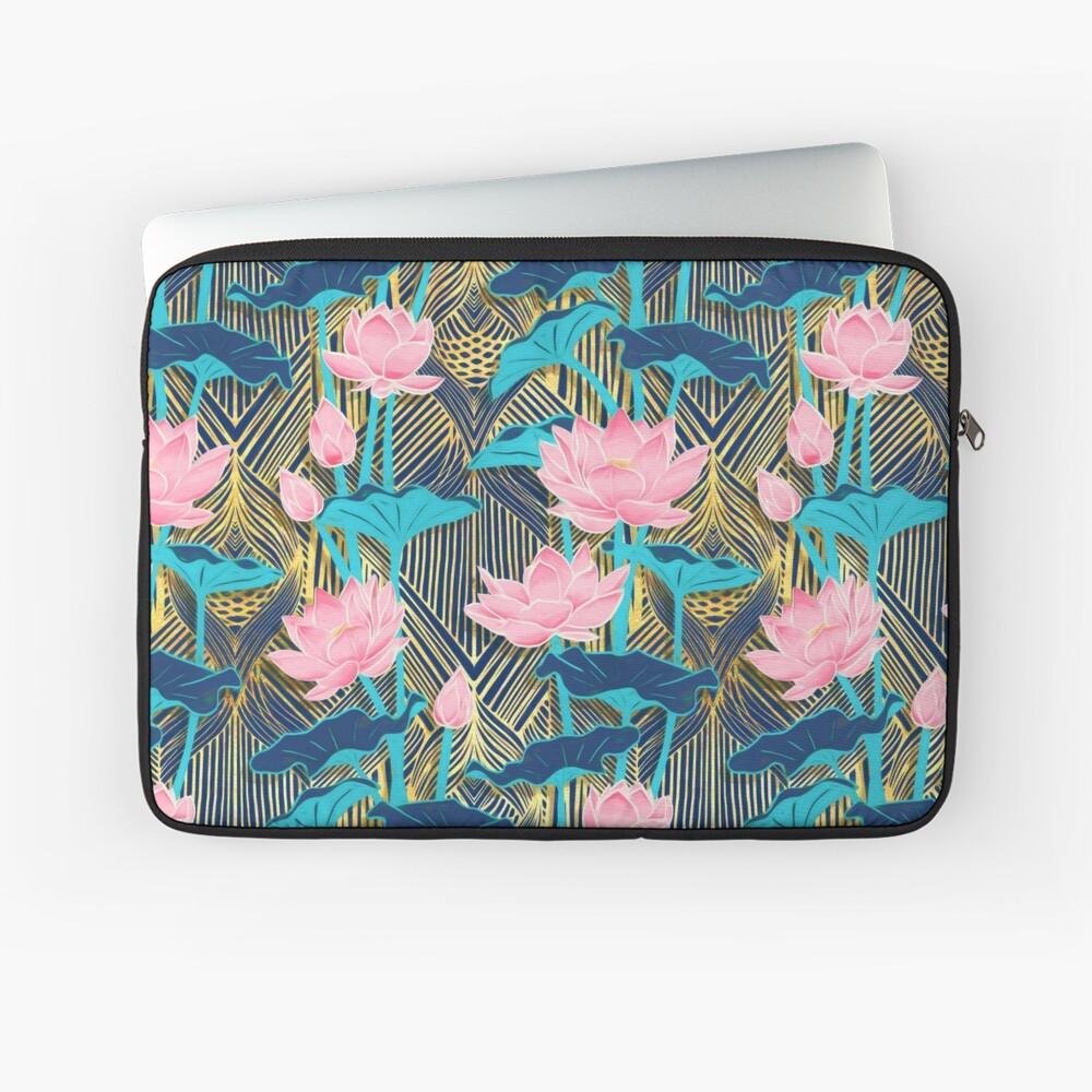 Art Deco Lotus Flowers in Pink & Navy Laptop Sleeve