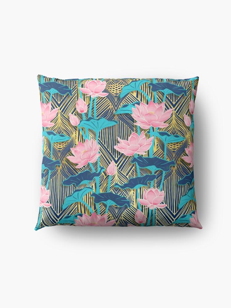 Alternate view of Art Deco Lotus Flowers in Pink & Navy Floor Pillow