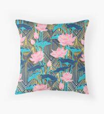 Art Deco Lotus Flowers in Pink & Navy Floor Pillow