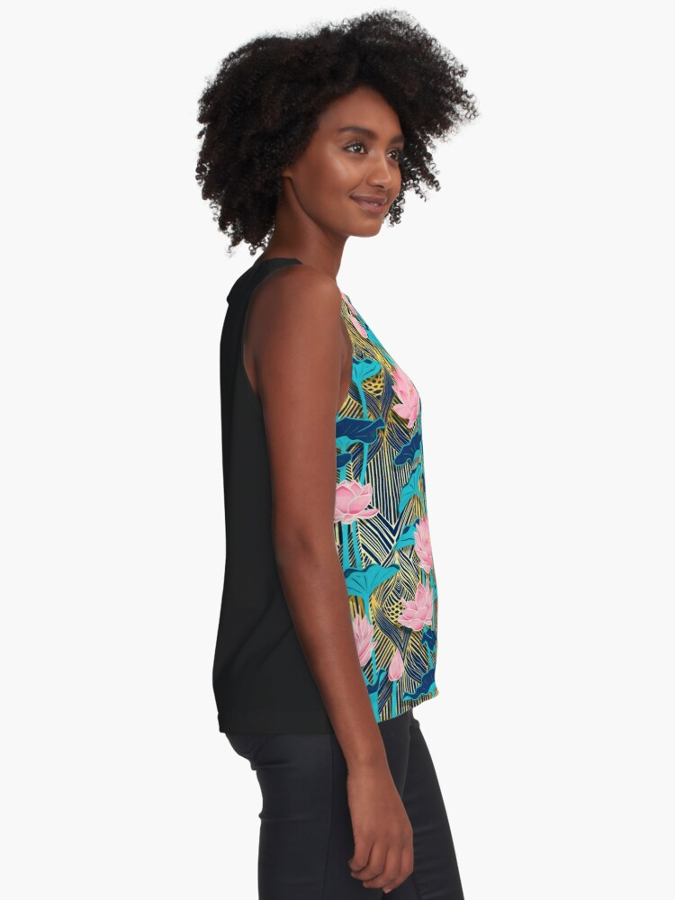 Alternate view of Art Deco Lotus Flowers in Pink & Navy Sleeveless Top