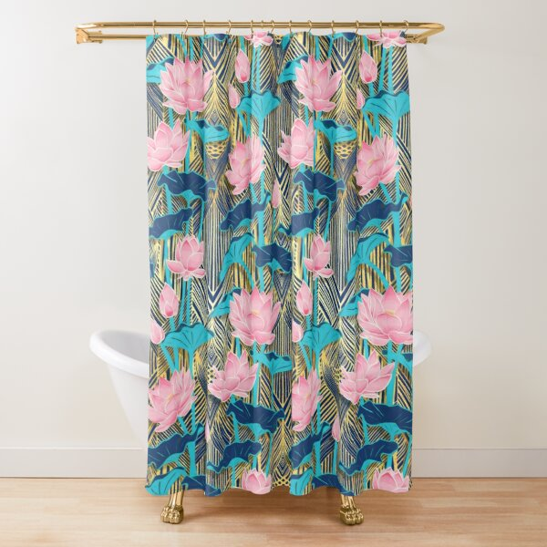 Art Deco Lotus Flowers in Pink & Navy Shower Curtain