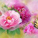 Pfingstrosen & Schmetterling von Morag Bates