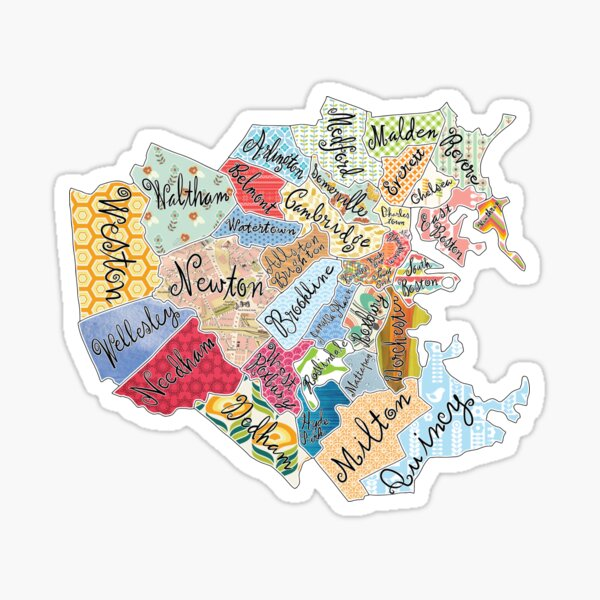 map of boston and surrounding towns Sticker