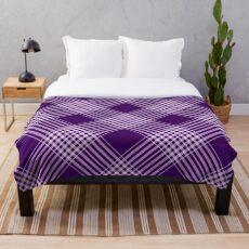 Royal Purple und Weiß Plaid Fleecedecke
