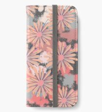 Painterly flowers in pink, cream and grey iPhone Wallet/Case/Skin