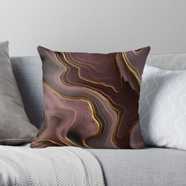 Mauve Agate Abstract Throw Pillow