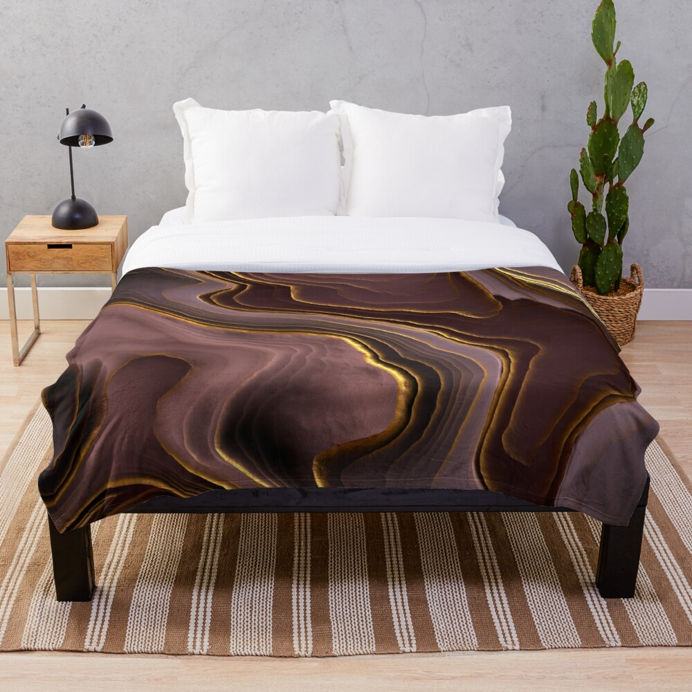 Mauve Agate Abstract Throw Blanket
