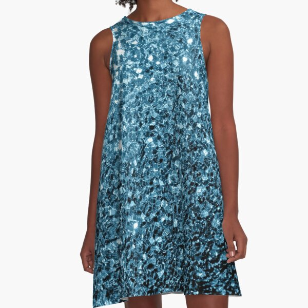 Beautiful Baby blue glitter sparkles A-Line Dress