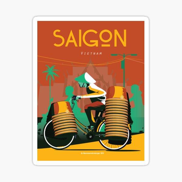 Saigon City Retro Poster - Vietnam art print | Travel Poster  Sticker