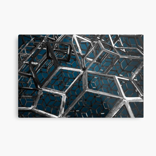 Closeup of the surrealistic monument looking like metal grid cage Metal Print