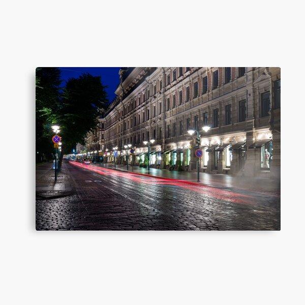 Long exposure photo of famous Helsinki Esplanadi street at night Metal Print