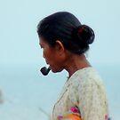 A lady who smokes  by Brian Bo Mei