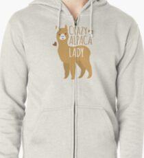 Crazy Alpaca Lady Zipped Hoodie