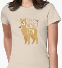 Crazy Alpaca Lady Women's Fitted T-Shirt