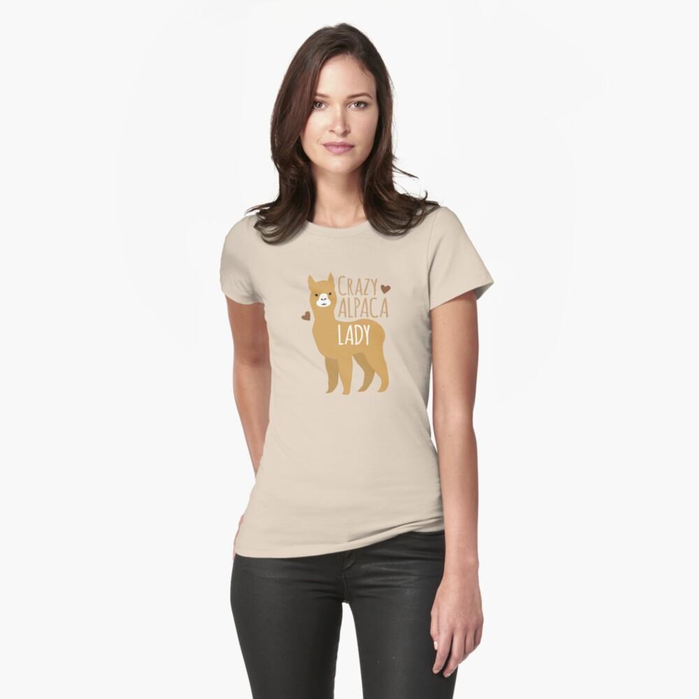 Crazy Alpaca Lady Womens T-Shirt Front