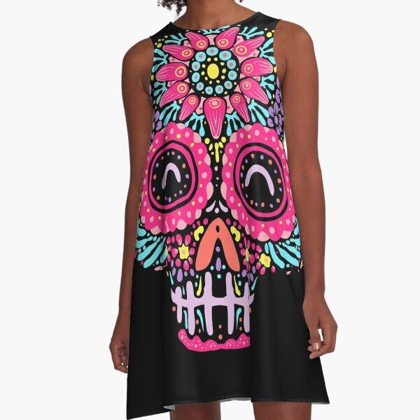 Sugar Skull Kawaii A-Line Dress