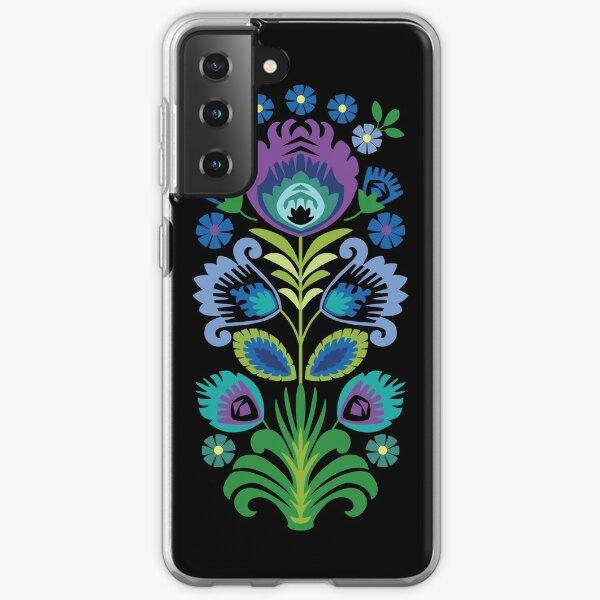 Polish Folk Flowers Purple on Black Samsung Galaxy Soft Case