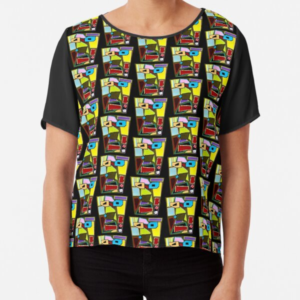 Scattered Mess Repeat (Facemadics abstract face colorful contemporary) Chiffon Top