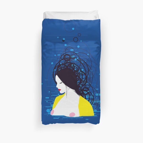 thinking in the water Duvet Cover