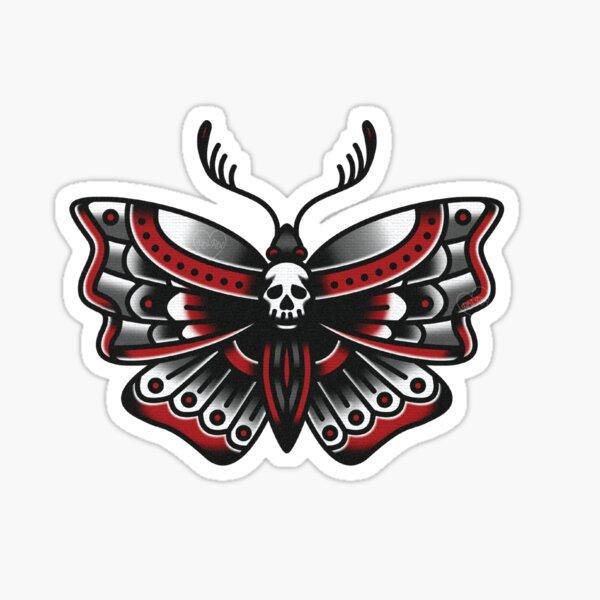 Deathhead Moth 02 - Tatuaje tradicional Pegatina