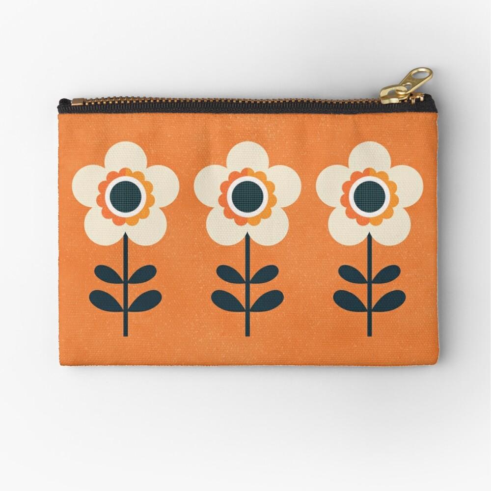 Retro Blossom - Orange and Cream Zipper Pouch